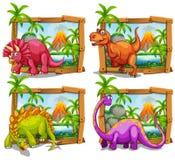 Cuatro dinosaurios en marco de madera Foto de archivo libre de regalías