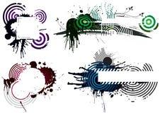 Cuatro diseños de Grunge Imágenes de archivo libres de regalías