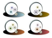 Cuatro diversas burbujas con las flores del color Imagen de archivo libre de regalías