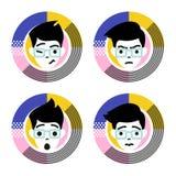 Cuatro diversas emociones del carácter masculino joven Ejemplo plano del vector del estilo stock de ilustración