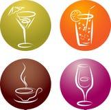 Cuatro diversas insignias del icono de la bebida Fotos de archivo libres de regalías