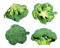 Cuatro diversas vistas del bróculi Fotografía de archivo