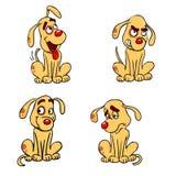 Cuatro diversos estados emocionales de un perro stock de ilustración