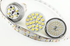 Cuatro diversos tipos de microprocesadores de SMD LED Imágenes de archivo libres de regalías