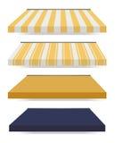 Cuatro diversos toldos coloreados Imágenes de archivo libres de regalías