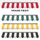 Cuatro diversos toldos del color Imagen de archivo