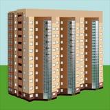 Cuatro edificios de varios pisos contra un fondo azul Imágenes de archivo libres de regalías