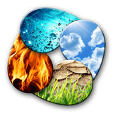 Cuatro elementos de la naturaleza imagen de archivo libre de regalías