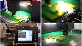 Cuatro en un - fábrica robótica industrial automática - corte del proceso de la chapa en agua metrajes