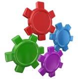 Cuatro engranajes coloridos que dan vuelta a trabajar junto el espacio en blanco Yo de la copia Foto de archivo libre de regalías