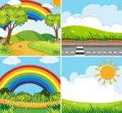 Cuatro escenas con el arco iris y el sol en cielo stock de ilustración