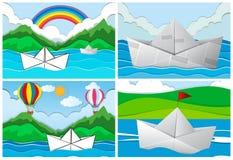 Cuatro escenas con los barcos de papel en el mar stock de ilustración