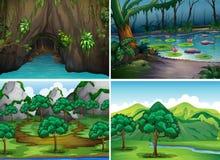 Cuatro escenas de bosques ilustración del vector