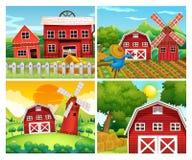 Cuatro escenas de corrales stock de ilustración