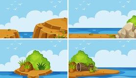 Cuatro escenas del océano en el tiempo del día ilustración del vector