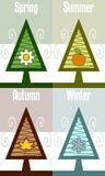 Cuatro estaciones abstraen el árbol Fotos de archivo