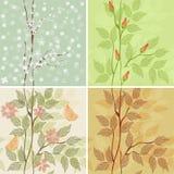 Cuatro estaciones - invierno, resorte, verano, otoño stock de ilustración