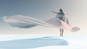 Cuatro estaciones, mujer en el invierno libre illustration