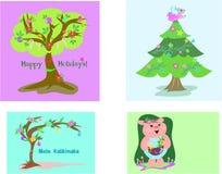 Cuatro etiquetas de la Navidad Foto de archivo libre de regalías