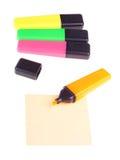 Cuatro etiquetas de plástico coloreadas Imagenes de archivo