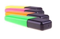 Cuatro etiquetas de plástico coloreadas, primer Fotos de archivo