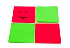 Cuatro etiquetas engomadas coloreadas Fotografía de archivo libre de regalías
