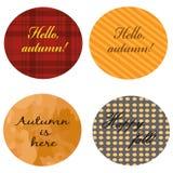 Cuatro etiquetas engomadas de la colección del otoño Ilustración del vector EPS 10 Fotografía de archivo libre de regalías