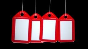Cuatro etiquetas rojas en blanco animadas caen en capítulo entonces salen libre illustration