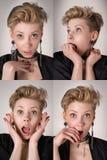 Cuatro expresiones faciales emocionales de la mujer fijadas foto de archivo