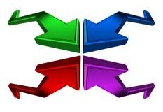 Cuatro flechas 3D Foto de archivo libre de regalías