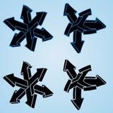 Cuatro flechas 3d Ilustración del Vector