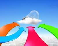 Cuatro flechas del color van hacia bombilla Imagen de archivo libre de regalías