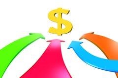 Cuatro flechas del color van hacia la muestra de dólar, representación 3D Foto de archivo libre de regalías