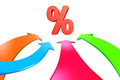 Cuatro flechas del color van hacia la muestra de porcentaje, representación 3D Imágenes de archivo libres de regalías
