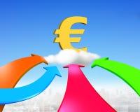 Cuatro flechas del color van hacia símbolo euro de oro Imagen de archivo libre de regalías