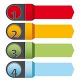 Cuatro flechas infographic de los pasos Imagenes de archivo