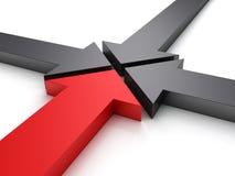 Cuatro flechas que señalan en una dirección de centro Foto de archivo libre de regalías