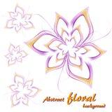 Cuatro flores abstractas en púrpura y amarillo en un fondo blanco libre illustration