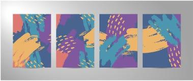 Cuatro fondos de los movimientos del cepillo del extracto del vector ilustración del vector