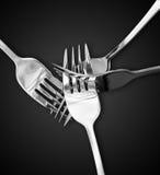 Cuatro forkes de plata Imagen de archivo libre de regalías