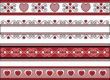 Cuatro fronteras de la tarjeta del día de San Valentín con los ajustes de la guinga Fotografía de archivo libre de regalías