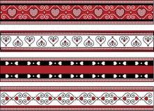 Cuatro fronteras de la tarjeta del día de San Valentín con los ajustes de la guinga Imagen de archivo libre de regalías