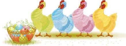 Cuatro gallinas con los huevos de Pascua Imagen de archivo libre de regalías