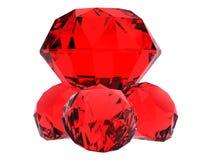 Cuatro gemas de rubíes enormes rojas Imágenes de archivo libres de regalías