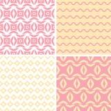 Cuatro geométricos abstractos rosados y amarillos tribales Imagen de archivo