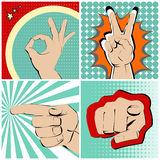 Cuatro gestos de manos Fotografía de archivo libre de regalías