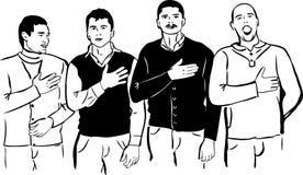 Cuatro hombres escuchan y cantan su himno nacional stock de ilustración