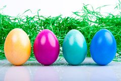 Cuatro huevos de Pascua coloreados V2 Imágenes de archivo libres de regalías
