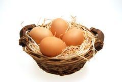 Cuatro huevos en cesta Imágenes de archivo libres de regalías