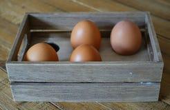 Cuatro huevos marrones en una caja de madera con el espacio para seis huevos, en viento Foto de archivo libre de regalías